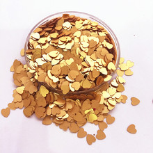 50g(2000pcs) 6mm Matt Gold Lovely Heart PVC loose Sequins Paillettes for Nail Art manicure/sewing/wedding decoration confetti