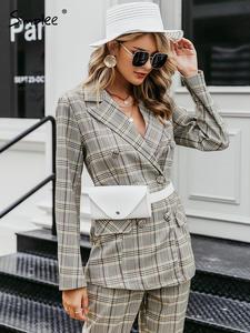 Simplee Women Blazer Suit-Set Streetwear-Trouser-Suit Long-Sleeve Office Female Double-Breasted