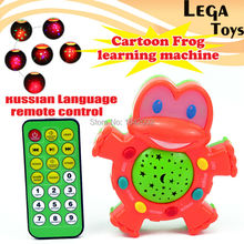 Russian Language RC Control Cartoon Frog Stories Teller,baby toy Learning Machines with Light Projection Educational toys(China)