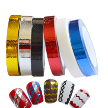 6mm Waves Design Nail Art Stripping Tape Line Self-Adhesive Tips Sticker Nail Roll Beauty DIY Fashion Women DIY Craft FoilsND210