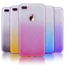 for iPhone 7 Case Luxury Gradient Color Slim Glitter Bling Shinning Soft TPU Back Cover Silicone Case for iPhone 6 6S Plus 5S SE