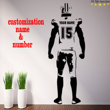Good quality house decor new Art name Design American football Vinyl Wall decals removable room decoration rugby sports sticker(China)