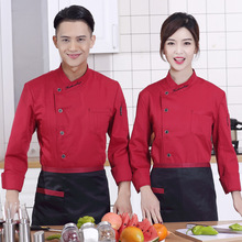 Hotel Chef Wear Long Sleeved Autumn Cake Baking Western-style Food Kitchen Canteen Chef Wear Chef Uniforms for Men and Women(China)
