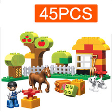 45Pcs Happy Farm Animal Building Bricks Blocks Sets For Children Baby Compatible Duploe Farm Animal Model Toys Birthday Gift H35