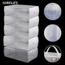 5pcs Clear Plastic Mens Shoe Storage Boxes Containers(China)
