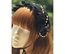 Princess sweet lolita Hairbands [hair band] hand made Black Gothic black lace bow tie bead chain Lolita band Gothic MHTSP034(China)