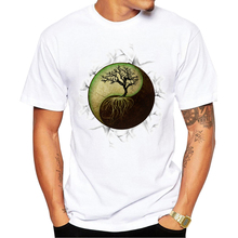 Fashion Yin Yang Tree Design Men T-shirt Short Sleeve Customized t shirts Vintage Tree Printed Cool Hipster tee Shirts