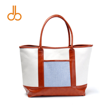 canvas material women handbag with pu leather handle good quality tote bag DOM303(China)