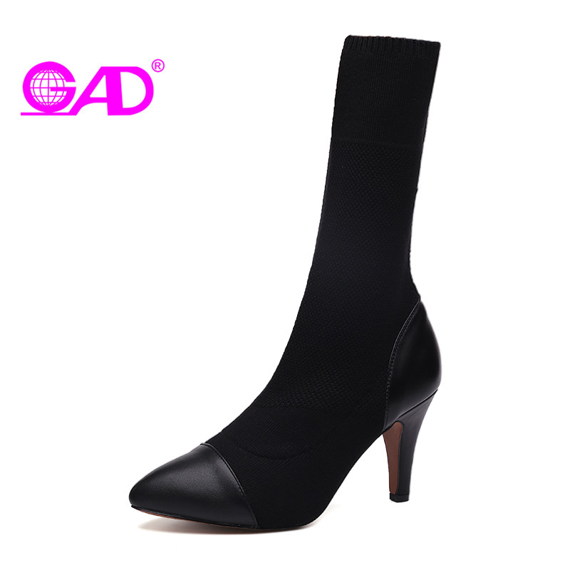 GAD 2017 Autumn/Winter Women Boots Waterproof Pointed Toe Stretch Fabric Women Boots Sexy Fashion High Heel Shoes Women Boots<br>