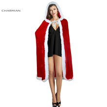 Charmian Women's Sexy Christmas Costume Cloak Red Hooded Velvet Cape Mrs Santa Claus Party Cosplay Christmas Clothing(China)