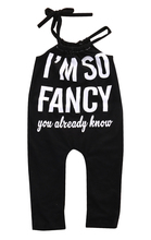 I'M so Fancy Newborn Baby Girls Sleeveless Spaghetti straps Romper Jumpsuit Outfits Clothes 0-18M(China)
