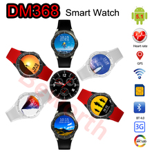 3G Android Smart Watch Phone Bluetooth MTK6580 Quad Core Heart Rate Monitor DM368 Smartwatch Supports GPS Wifi Whatsapp Skype