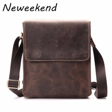 NEWEEKEND 8049 Retro Casual Genuine Leather Cowhide Crazy Horse Anti-theft Shoulder Messenger Crossbody iPad Bag for Man