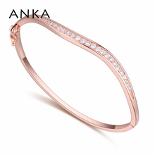 ANKA trendy hot sell classics wave shape bangle with cubic zirconia luxury gold color fashion jewelry bracelet for women 21001