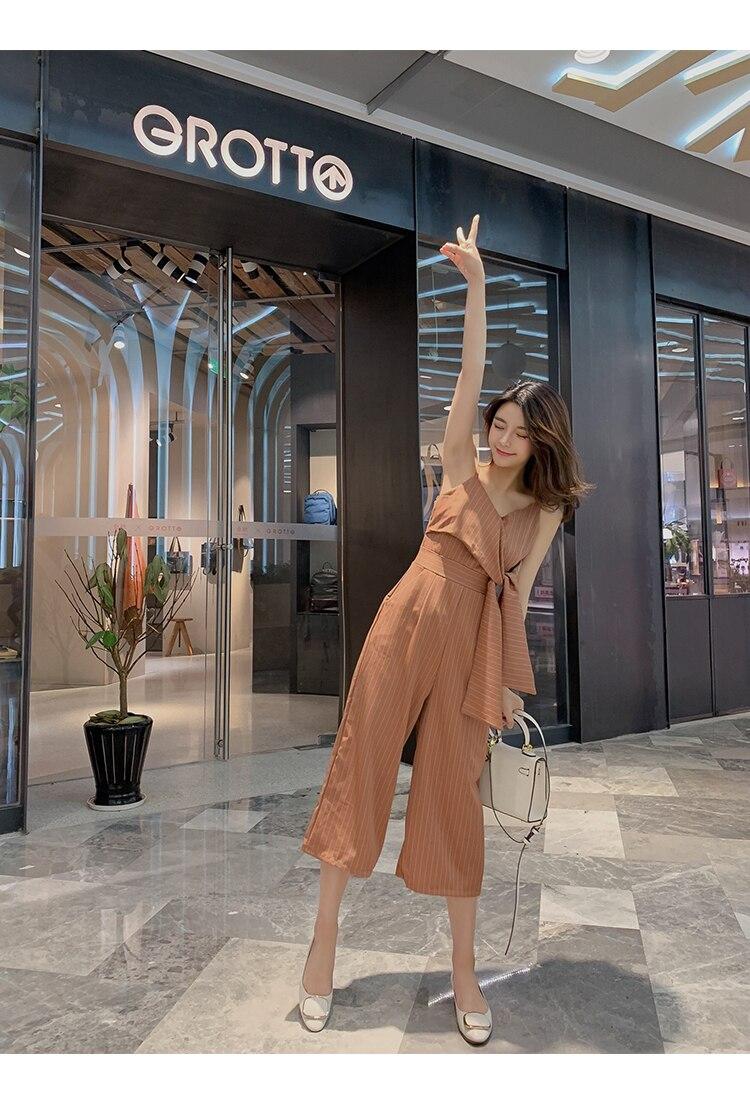 Sling Off Shoulder Sleeveless Striped Jumpsuit 2019 New Fashion V-Neck High Waist Nine Points Wide Leg Jumpsuit Summer 14 Online shopping Bangladesh