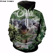 PLstar Cosmos 2018 Newest Fashion 3D hoodies Cute animal Koala Weeds print Womens Mens Sweatshirt casual Tracksuits