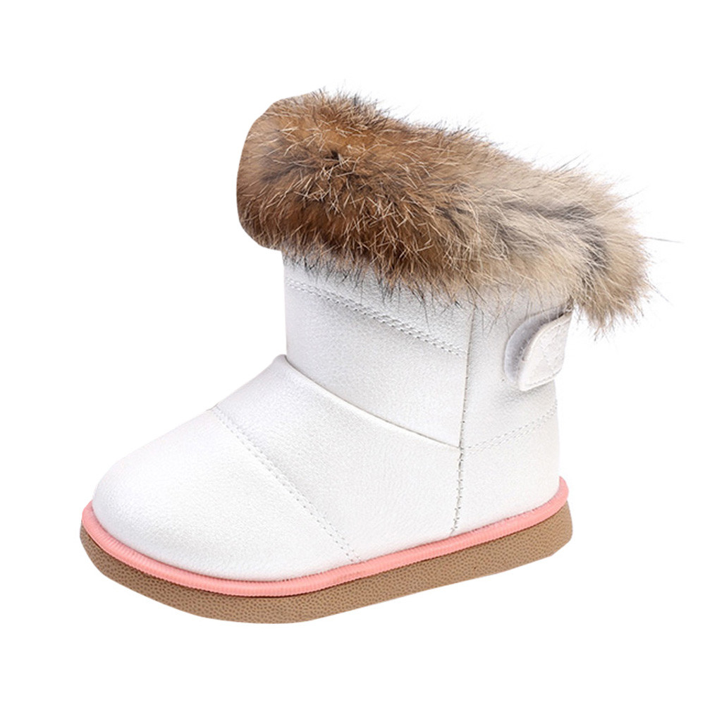 Ankle Boots Baby Kids Boy Girl PU Leather Autumn Winter Fur Lined Warm Shoes