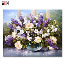 WEEN Purple Flower Pictures by numbers For Home decorative DIY Handpainted Oil Painting Canvas  Art 40x50cm No Frame Gift