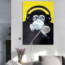 DIY oil painting Happy Chimpanzee orangutan Listen to the music digital paint by numbers