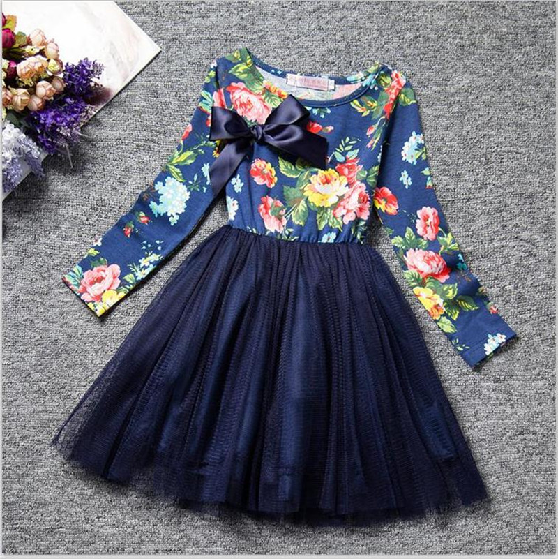 Kids Dresses for Girl Floral Princess Girl Dress Children Clothing Winter Toddler Baby Outfit Clothes Brand Party Tulle Costume 4