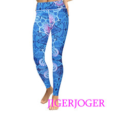 JIGERJOGER 2019 Gym Petrol blue pink mandala printed High rise women's gym legging stretchy sports running activewear outfits(China)