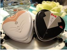 Bride groom Mint tin metal wedding favor gift box 250pairs=500pcs/lot dressed to the nines wedding candy box(China)