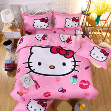 HOT SALE Pink 3D TWIN Double Purple Hello kitty Child Cartoon Pattern Bedding sets include Duvet cover bed sheet pillowcase