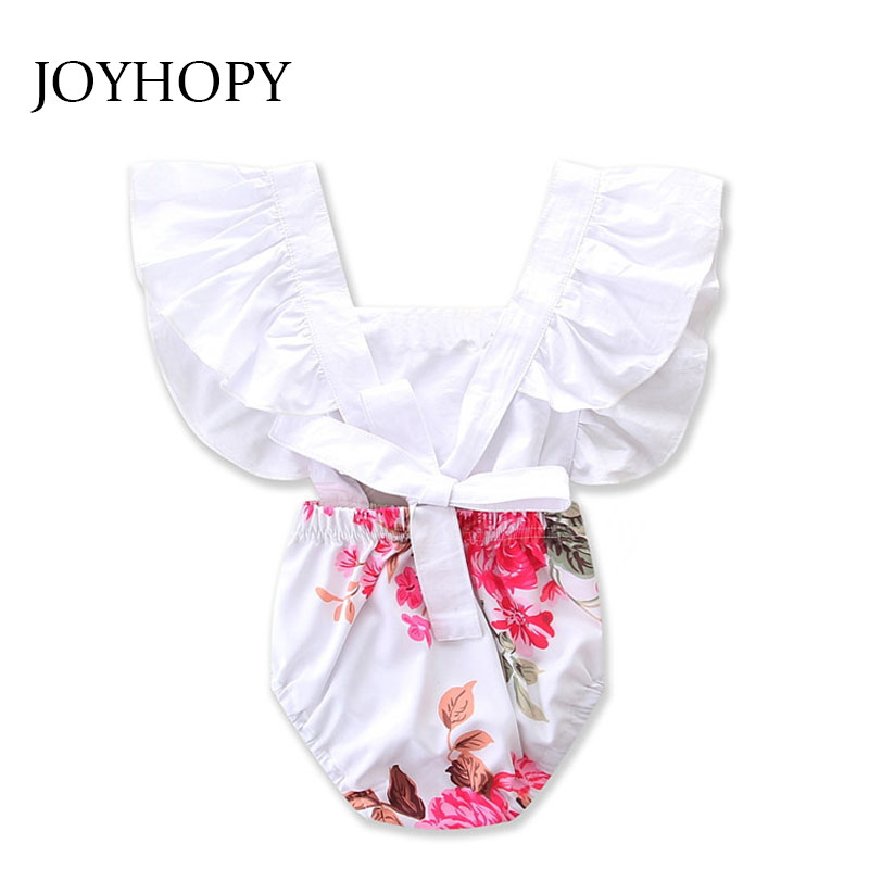 2017 Newborns White Lace Baby Rompers Summer Infant Baby Girls Clothes Flower Print Toddler Kids Jumpsuit overalls(China (Mainland))