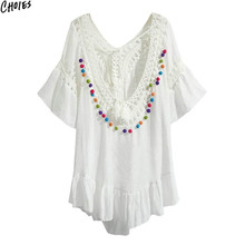 2 Colors Crochet Lace Panel Colorful Pom Plunge Back Linen Dress Summer Short Sleeve Tied Front Women Casual Straight - Choies store