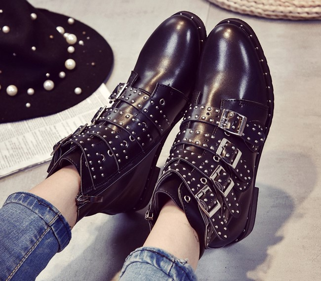 2017 New Leather Rivets Booties Buckle Straps Thick Heel Black Ankle Boots Studded Decorated Motorcycle woman Boots<br><br>Aliexpress