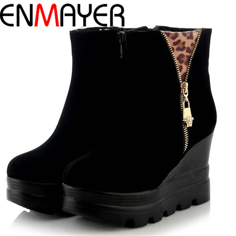 ENMAYER Round Toe Wedges Leopard Flock Women Boots Casual Winter Ankle Boots for Women 3 Color Boots Women Shoes Platform Pumps<br><br>Aliexpress