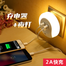 New strange new product ideas intelligent dual usb socket Light control led night light sensor lights home lamp 5V