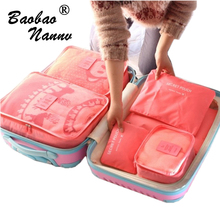 Nylon Packing Cube Travel Bag System Durable 6 Pieces One Set Large Capacity Of Bags Unisex Clothing Sorting Organize Bag(China)