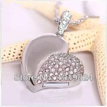 Diamond Usb Flash Drive crystal heart Crystal heart Necklace 8GB 16G  USB Flash Memory Drive Stick Pen/Thumb/Car S21