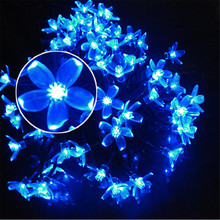 Cherry Sakura Blossom Flower LED Solar Fariy String Light 7M 50L Outdoor Party Christmas New Year Birthday Decoration casamento