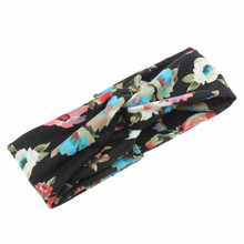 Buy direct from China Beautiful cheap Fashion Women Flower Printed Spring Twist Hair Band Turban Headband flower crown wreath