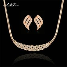 DFS268 Waltz of Love Cubic Zirconia Necklace Pendant&Earrings Sets Wholesale 18KRGP Crystal Bridal/Wedding Jewelry conjunto