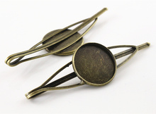 20mm 5pcs High Quality Bronze Plated Copper Material Hairpin Hair Clips Hairpin Base Setting Cabochon Cameo  J5-10