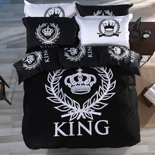 Fashion KING Crown 100% Cotton Duvet Cover Set with Bed Flat Sheet and Pillow Case Black & White Single Queen King Size Bedding