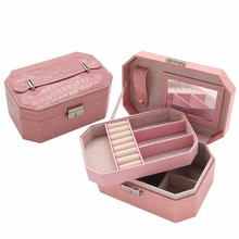 4 Color Double Layer Jewelry Box Organizer PU Leather Double Layers with Mirror jewelry Dispplay Holder