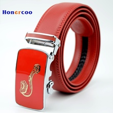 2017 New Red Belts Leather Belt For Men High Quality Designer Red leather belt men's automatic belt buckle business style