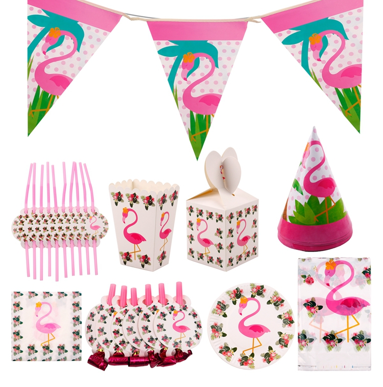 QIFU Flamingo Decoration Tropical Summer Beach Birthday Party Decor Events Luau Flamingo Hawaii Hawaiian Party Supplies Hibiscus 14