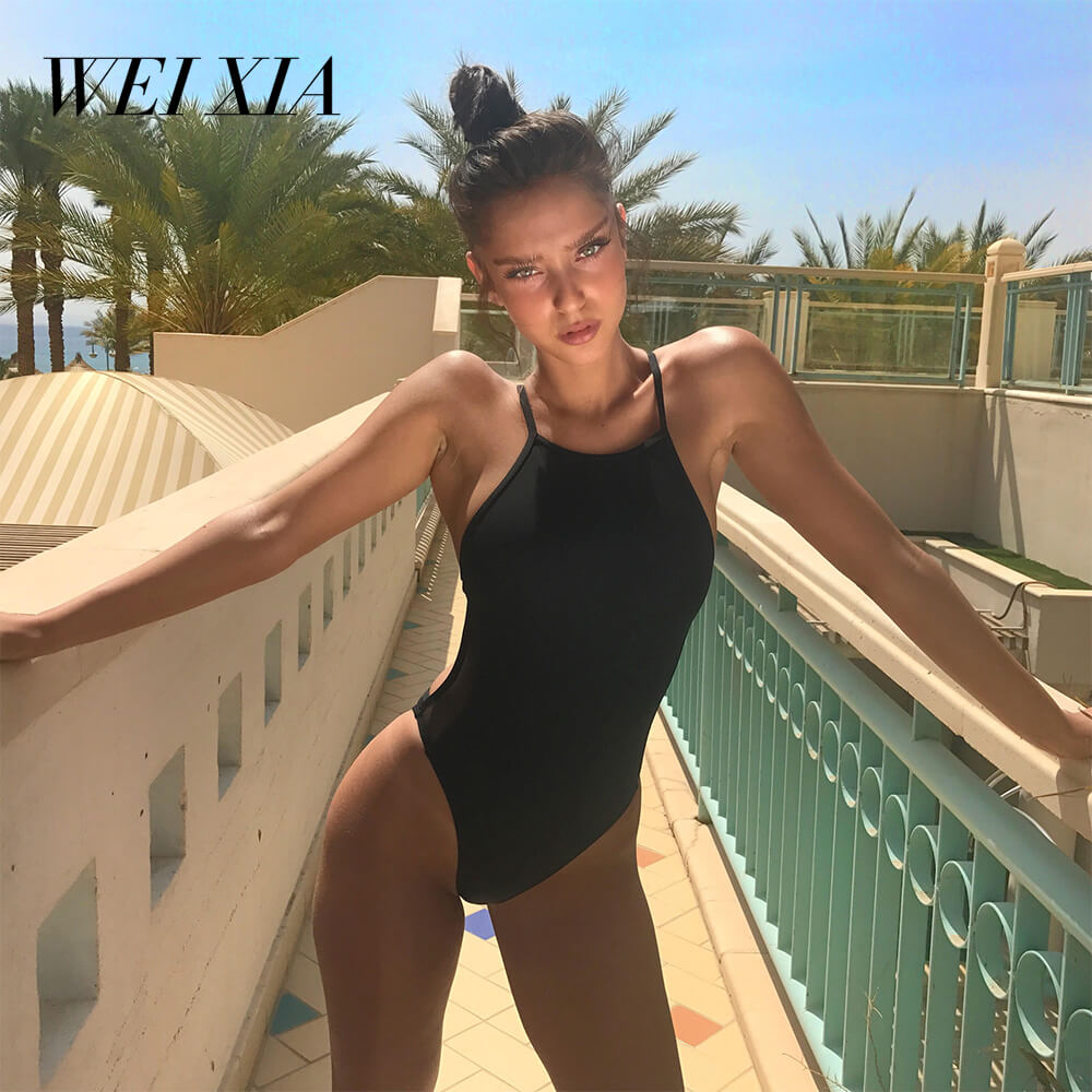 WEIXIA Hot Sexy One Pieces 8622 New arrivial Sexy Swimwear Women Soft Cup Mes Solid Up Sexy Women Back tape cross Swimwear  <br>