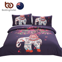 BeddingOutlet Boho Bedding Set Elephant Tree Black Printed Bohemia Duvet Cover with Pillowcases Soft AU Single Double Queen Size