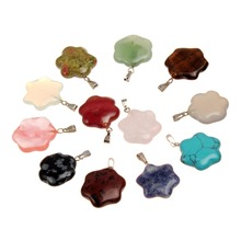 Druzy Hexagram Flower Crystal Necklace Pendant Mixed Color Stone Hexagonal Star Sun Flower Pendant Wholesale 12pcs\lot