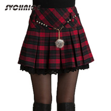Fashion Autumn Winter Skirt Women 2016 Lady Schoolgirl Sexy Short Gray/Red Pleated Skirt Mini Plaid Skirts Women Faldas Saia 2XL
