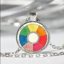 ON SALE Vintage Color Wheel Necklace Artists Jewelry Teachers Students Art Pendant in Silver with Link Chain Included HZ1(China)