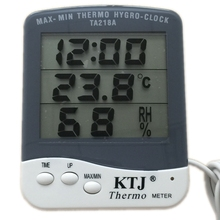 MAX-MIN Thermo Hygro Clock LCD Outdoor Thermometer Hygrometer Clock Weather Station Electronic Temperature Humidity Meter