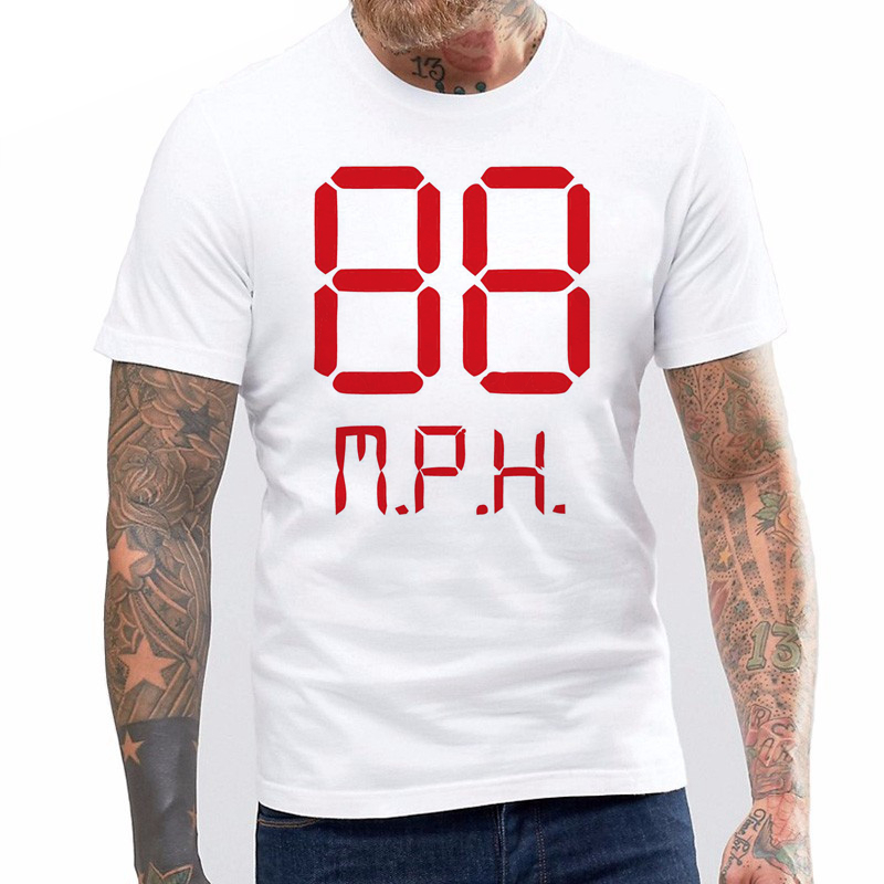 New Back to The Future 88 MPH T-Shirt Marty McFly Delorean Doc Brown Hill Valley men\`s top tees streetwear tshirt