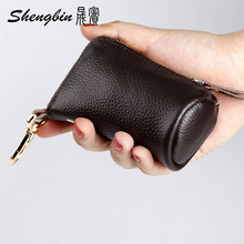 Genuine Leather Car Key Wallets Men Key Holder Housekeeper Keys Organizer Women Keychain Zipper Key Case Bag Pouch Purse S04214